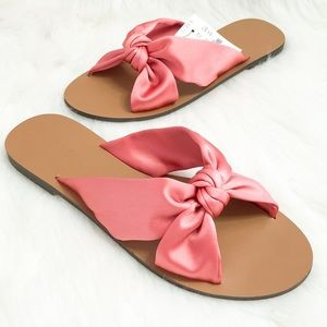 J. Crew Rose Satin Knotted Slide Sandals